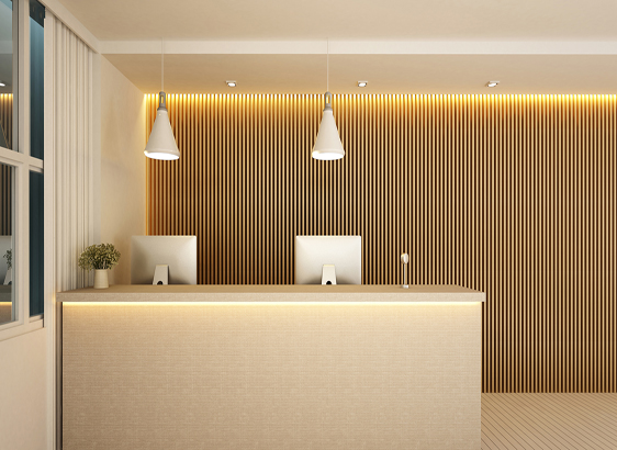 reception counter carpentry work by interior design company in qatar